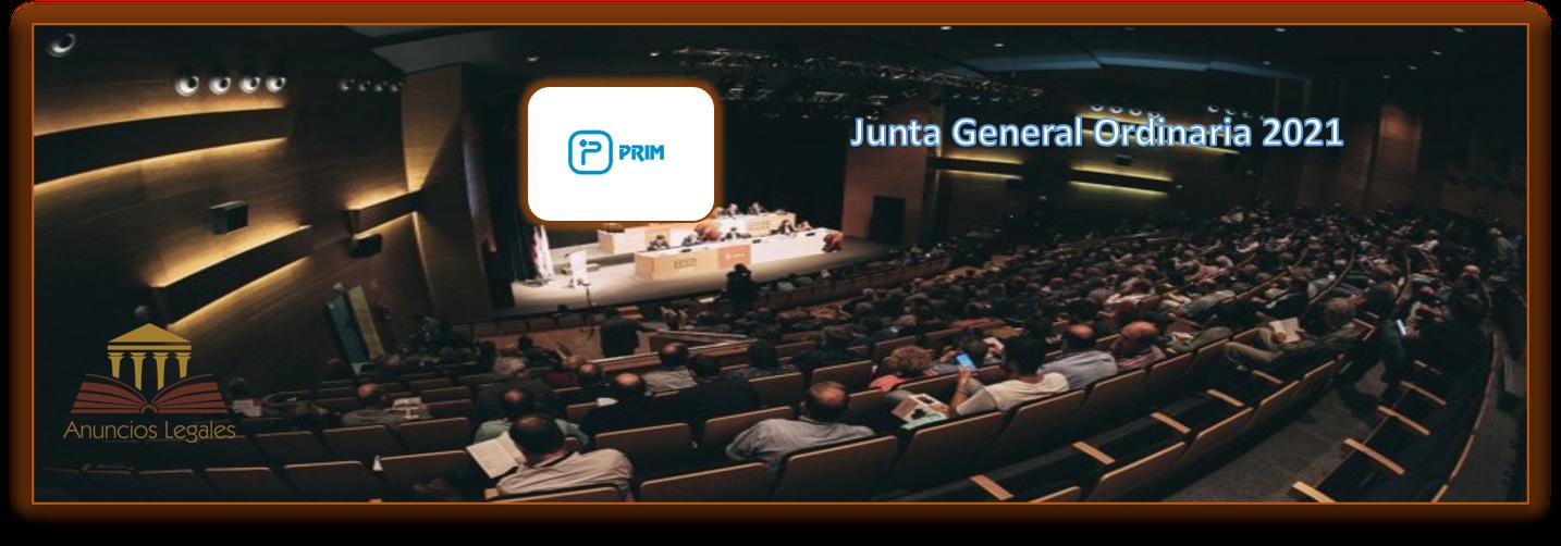 La sociedad Prim anuncia Junta General Ordinaria de Accionistas 2021