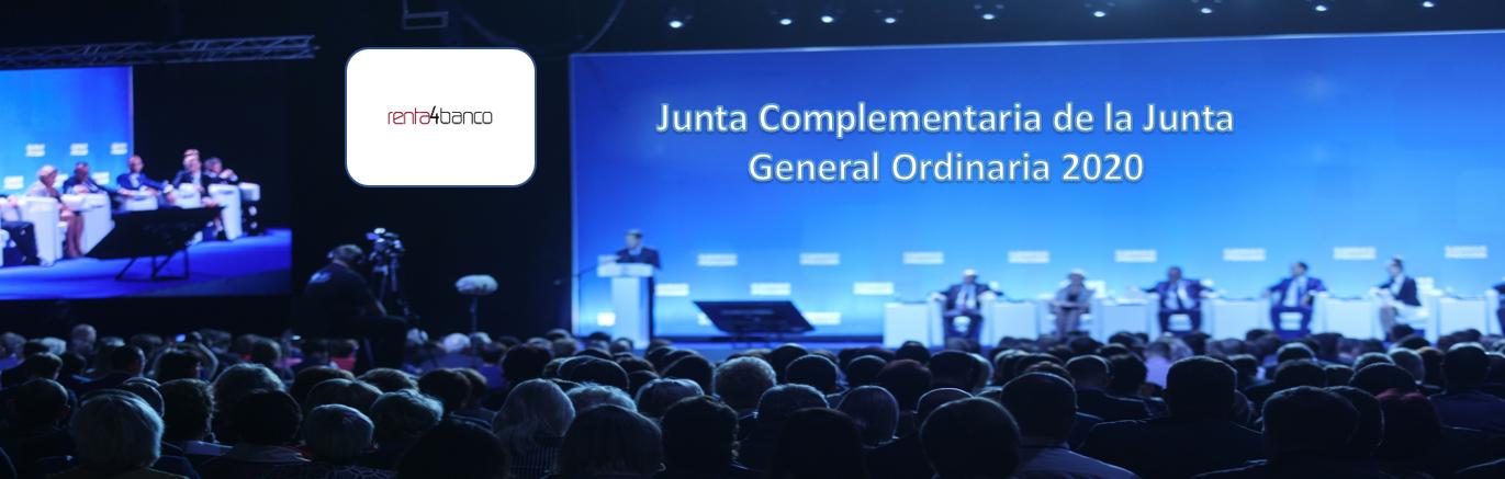 La sociedad Renta 4 Banco anuncia Junta General Complementaria de la Junta General Ordinaria de Accionistas de 2020